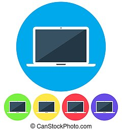 Vector flat icon of laptop.