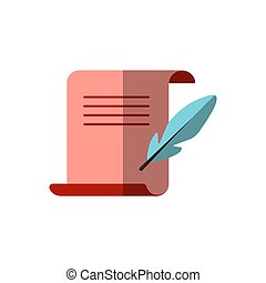 Vector flat icon of medieval letter for Diploma with a goose feather nearby for sign and write. Paper diploma, sheet and ink feather pen, vector flat illustration, confidential documents icon. scroll and feather writing symbol