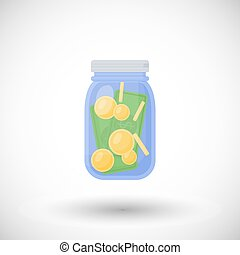 Vector flat icon of money jar