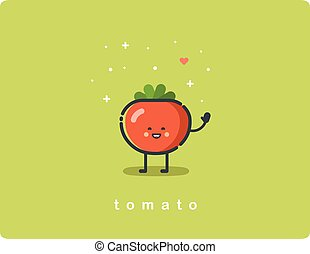 Vector flat icon of tomato, cute vegetable cartoon character, baby meal