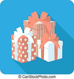 Vector flat icon red gift box with ribbon bow