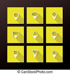 Vector flat icon set - map pins
