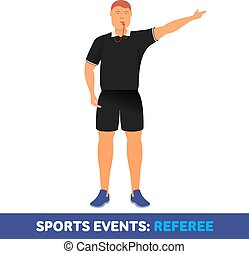 Vector flat icon sport events - sports referee with a...