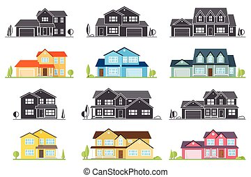 Vector flat icon suburban american house.