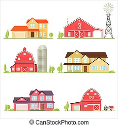Vector flat icon suburban american house. For web design and...