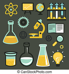 Vector flat icons and sign - science and education - test...