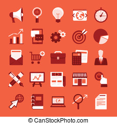 Vector flat icons - internet marketing