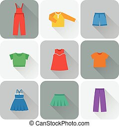 Vector flat icons of baby clothes.