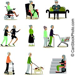 Vector flat icons set of aged people cartoon characters - ...