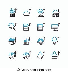 Vector flat icons set of business finance outline up concept.