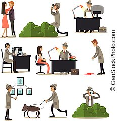 Vector flat icons set of detective profession characters -...
