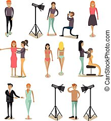 Vector flat icons set of fashion model people
