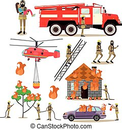 Vector flat icons set of firefighter profession people