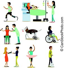 Vector flat icons set of medical staff and disabled people, pets