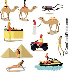 Vector flat icons set of people having rest in Egypt