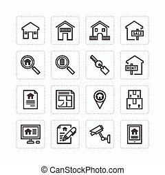 Vector flat icons set of real estate property outline...