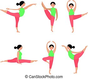 Vector flat icons set of yoga poses