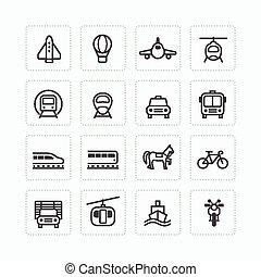 Vector flat icons set transportation outline concept.