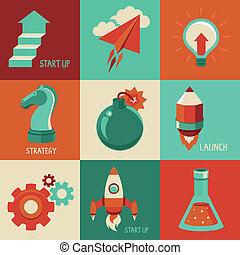 Vector flat icons - start up and launc business - Vector...