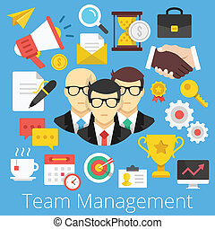 Vector Flat Icons Team Management