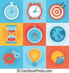 Vector flat icons - time management and technology development