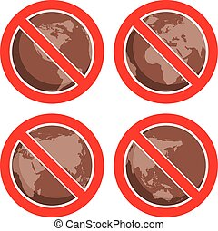 vector flat icons to stop global earth pollution