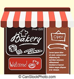 Vector flat  illustration bakery shop.