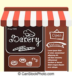 Vector flat  illustration bakery shop.