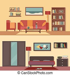 Vector flat illustration banners set abstract isolated rooms of apartment