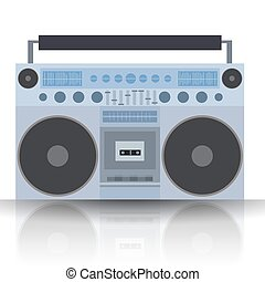Vector flat illustration Boombox. Cassette recorder. Vector...