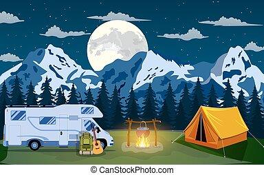 Vector flat illustration camping. - Family Adventure Camping...