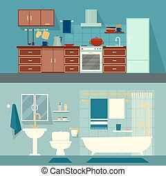 Vector flat illustration for rooms of apartment, house. Home...