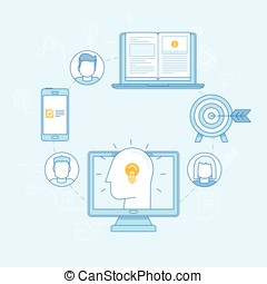Vector flat illustration in linear style - online education concept
