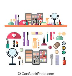 Vector flat illustration make up cosmetic. Set of design cosmetics, make up icons.