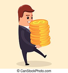 Vector flat illustration. Manager character with gold coin in hand.   smiling and holding   in . Funny cartoon businessman in various poses for use in presentations, etc.
