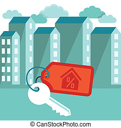 Vector illustration in flat trendy style - mortgage concept - houses icons and keys with label