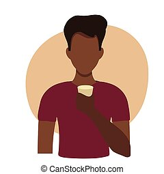 Vector flat illustration of a black man drinking water. Healthy drinking balance, infographics, center illustration. African American man holding a glass of water in flat style. Black guy athlete