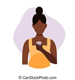 Vector flat illustration of a black pregnant woman drinking water from a glass. Healthy drinking infographics, central illustration. An African American woman drinks water in a flat style. Black girl.