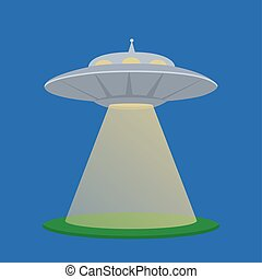 Vector flat  illustration of a flying saucer aliens