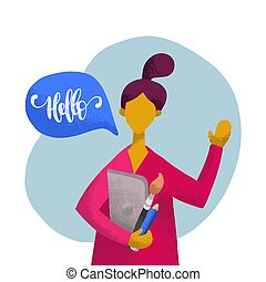 Vector flat illustration of a girl with speech bubble in minimalist style.Woman speaking Hello.Used for social networks