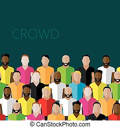 vector flat illustration of a large group of men. fitness commun