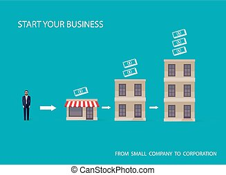vector flat illustration of an infographic business concept. bus