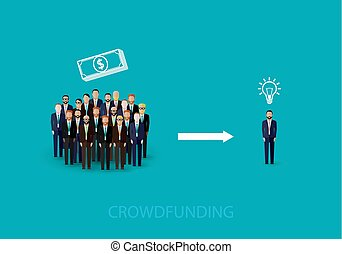 vector flat illustration of an infographic crowdfunding concept.