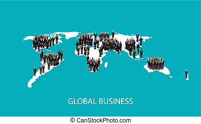 vector flat illustration of business people standing on the worl