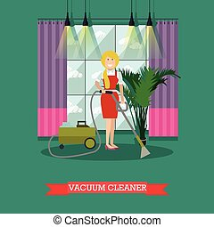 Vector flat illustration of cleaning woman with vacuum...
