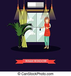 Vector flat illustration of cleaning woman washing window