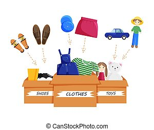 Vector Flat Illustration of Clothes Donation