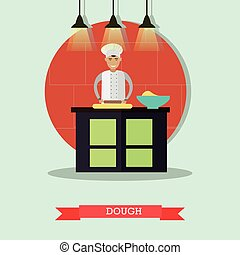 Vector flat illustration of cook rolling out the dough