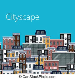 vector flat illustration of different city buildings. citycape b