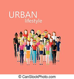 vector flat  illustration of female community with a large group